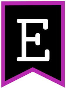 Letter E chalkboard back to school banner flag with purple border
