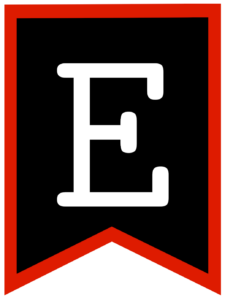 Letter E chalkboard back to school banner flag with red border