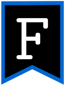 Letter F chalkboard back to school banner flag with blue border
