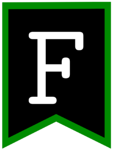 Letter F chalkboard back to school banner flag with green border