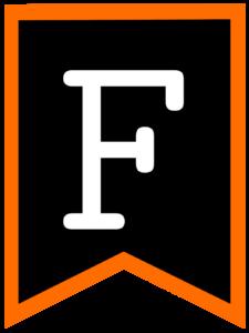 Letter F chalkboard back to school banner flag with orange border