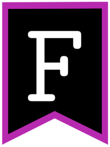 Letter F chalkboard back to school banner flag with purple border