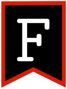 Letter F chalkboard back to school banner flag with red border