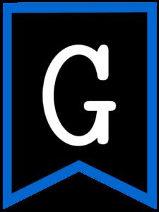 Letter G chalkboard back to school banner flag with blue border