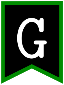 Letter G chalkboard back to school banner flag with green border