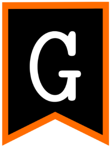 Letter G chalkboard back to school banner flag with orange border