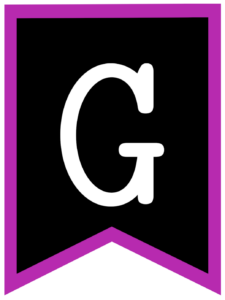 Letter G chalkboard back to school banner flag with purple border