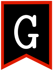 Letter G chalkboard back to school banner flag with red border