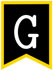 Letter G chalkboard back to school banner flag with yellow border
