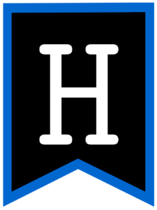 Letter H chalkboard back to school banner flag with blue border