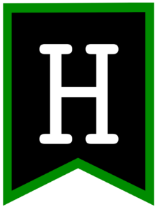 Letter H chalkboard back to school banner flag with green border