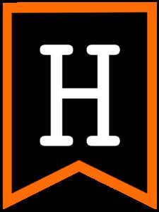Letter H chalkboard back to school banner flag with orange border