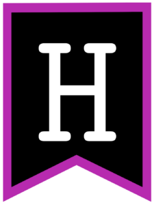 Letter H chalkboard back to school banner flag with purple border