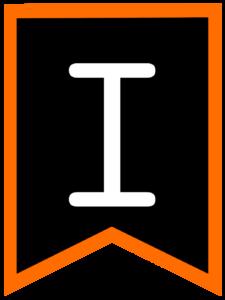 Letter I chalkboard back to school banner flag with orange border