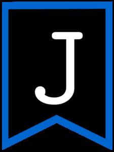 Letter J chalkboard back to school banner flag with blue border