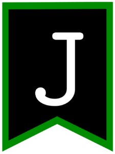 Letter J chalkboard back to school banner flag with green border