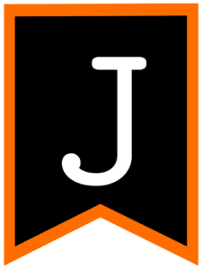 Letter J chalkboard back to school banner flag with orange border