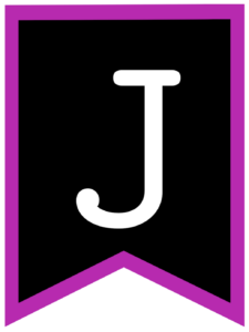 Letter J chalkboard back to school banner flag with purple border
