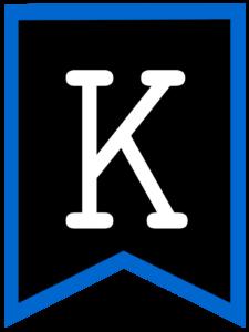 Letter K chalkboard back to school banner flag with blue border