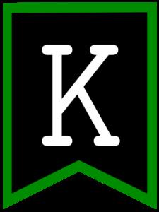 Letter K chalkboard back to school banner flag with green border
