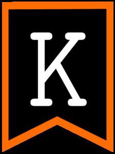 Letter K chalkboard back to school banner flag with orange border