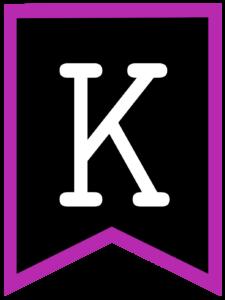 Letter K chalkboard back to school banner flag with purple border