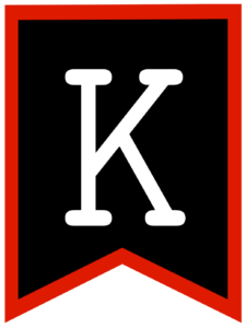 Letter K chalkboard back to school banner flag with red border