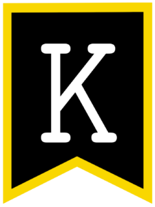 Letter K chalkboard back to school banner flag with yellow border