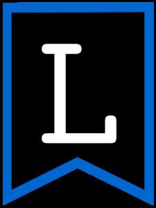 Letter L chalkboard back to school banner flag with blue border