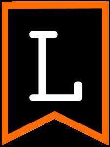 Letter L chalkboard back to school banner flag with orange border