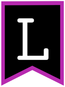 Letter L chalkboard back to school banner flag with purple border