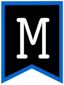 Letter M chalkboard back to school banner flag with blue border