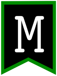 Letter M chalkboard back to school banner flag with green border