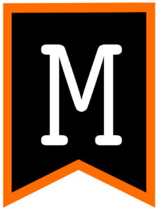 Letter M chalkboard back to school banner flag with orange border
