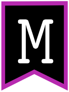 Letter M chalkboard back to school banner flag with purple border