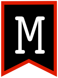 Letter M chalkboard back to school banner flag with red border