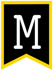 Letter M chalkboard back to school banner flag with yellow border
