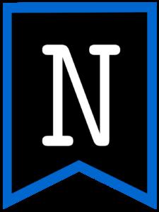 Letter N chalkboard back to school banner flag with blue border