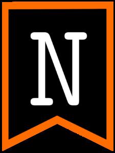 Letter N chalkboard back to school banner flag with orange border