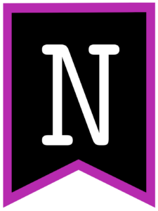 Letter N chalkboard back to school banner flag with purple border