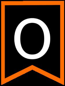 Letter O chalkboard back to school banner flag with orange border