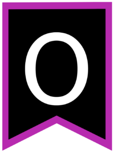 Letter O chalkboard back to school banner flag with purple border