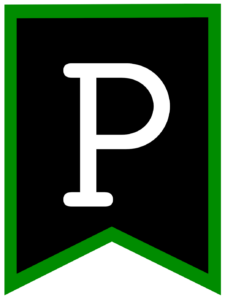 Letter P chalkboard back to school banner flag with green border