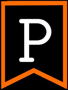 Letter P chalkboard back to school banner flag with orange border