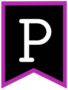 Letter P chalkboard back to school banner flag with purple border