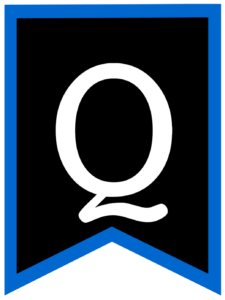 Letter Q chalkboard back to school banner flag with blue border
