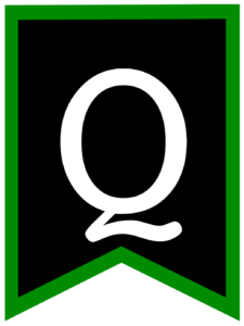 Letter Q chalkboard back to school banner flag with green border