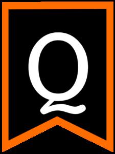 Letter Q chalkboard back to school banner flag with orange border
