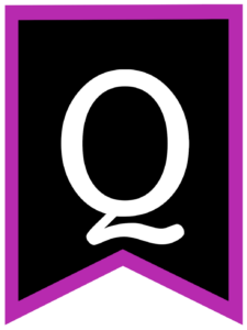 Letter Q chalkboard back to school banner flag with purple border