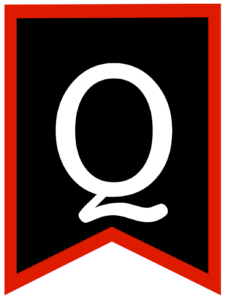 Letter Q chalkboard back to school banner flag with red border